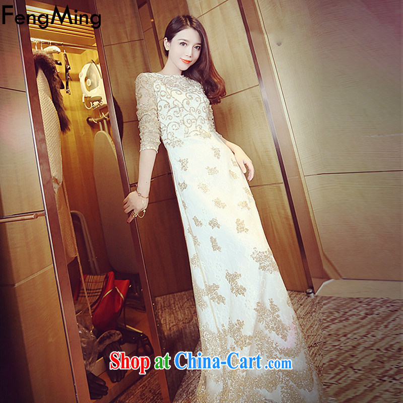 Abundant Ming fall 2015 new luxury heavy industry, cultivating graphics thin lace dress dress long skirt white L