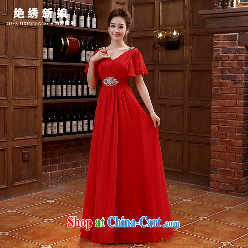 2015 New new Korean double-shoulder red long, large, banquet bridal wedding dress video thin toast serving red made cannot be returned.