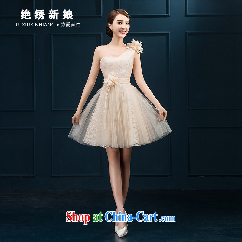 bridesmaid clothing summer 2015 new Korean version the shoulder the flowers, tied with a bride's wedding short banquet video thin evening dress pink made cannot be returned.