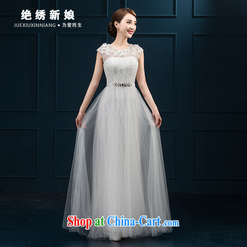 Summer 2015 new Korean version double-shoulder-length, the code graphics thin toast Service Bridal wedding banquet dress uniform performance Light Gray made cannot be returned.