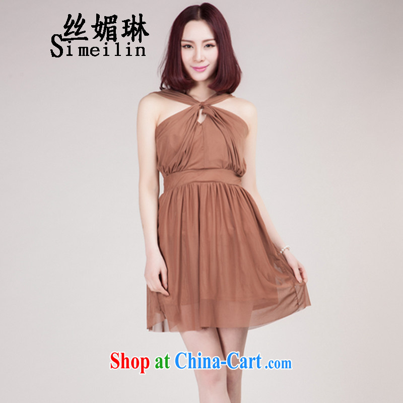 Silk Mei Lin 2015 new sexy back exposed Web yarn is also the strap dress wipe wrapped around his chest chest snow woven dresses dark brown L