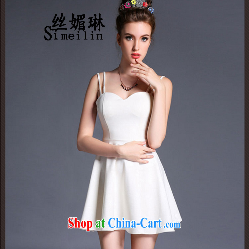 Silk Mei Lin 2015 new sexy back exposed wrapped chest low Chest straps short skirt video skinny dress solid bare shoulders dress white L
