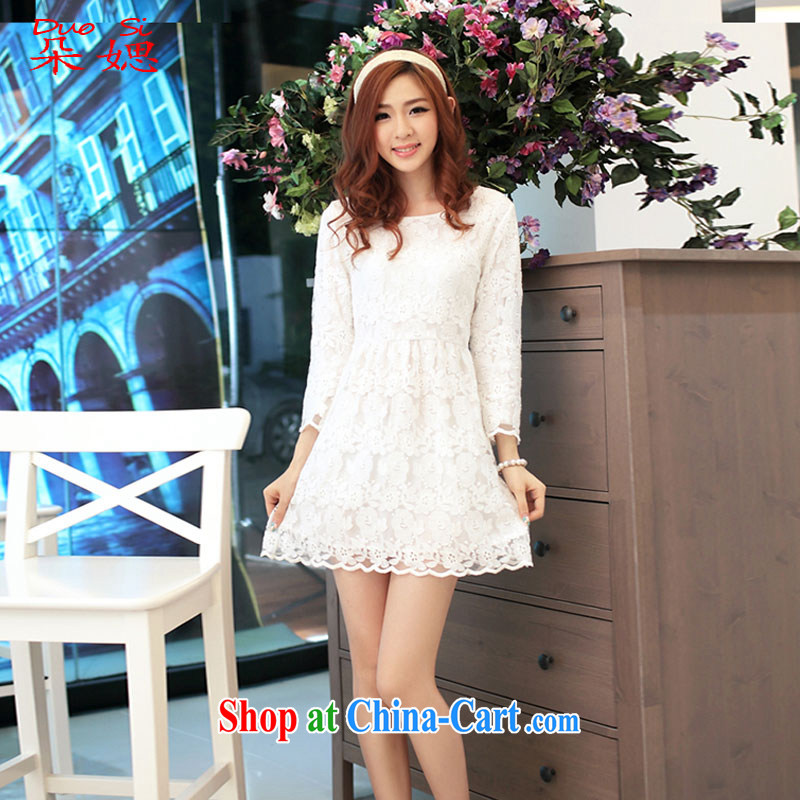 Flower �w 2015 new Autumn with lace dress women Openwork beauty lace cuff in dress dress white XL code