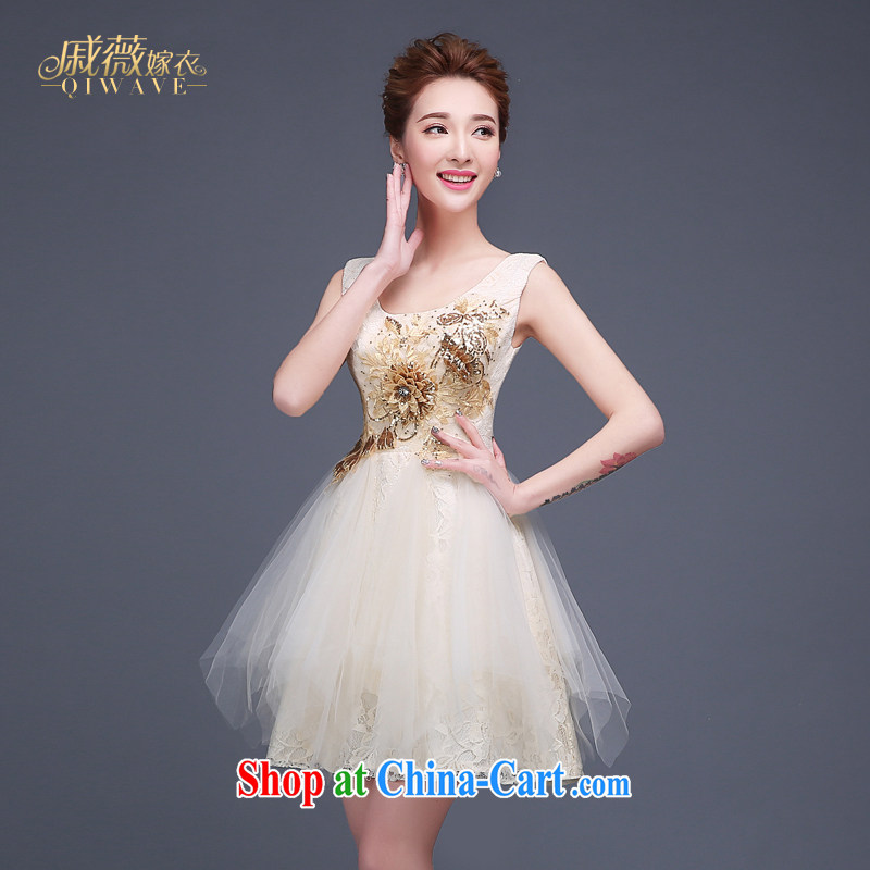 Wei Qi 2015 autumn bridal dresses serving toast dress champagne color short lace shoulders cultivating the wedding banquet bridesmaid dress girls white XXL