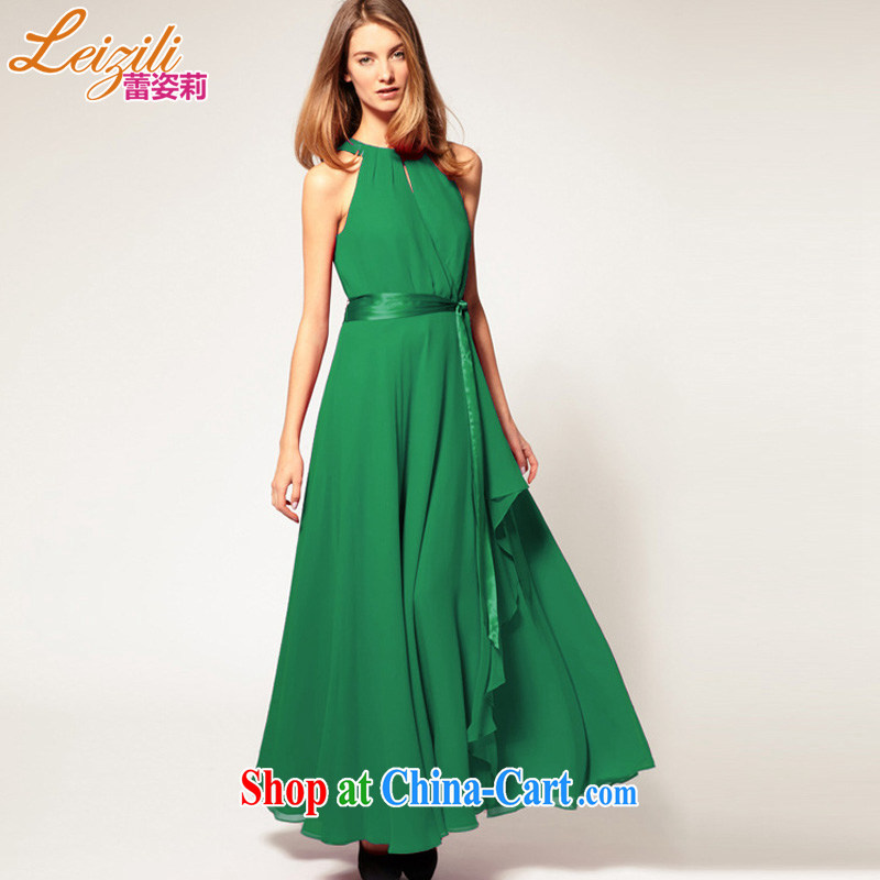 LeiziLi City Ballet summer her European and American trade rules are not large sleeveless ice woven long skirt style terrace shoulder-length dress retro dress the skirt long skirt green XL