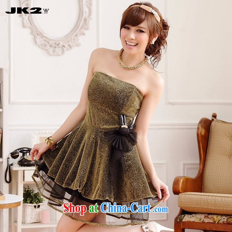 JK 2. YY thick MM larger sense of gold silk screen wipe chest dress the Show Short, marriage dresses bridesmaid clothing gold XXXL 160 recommendations about Jack