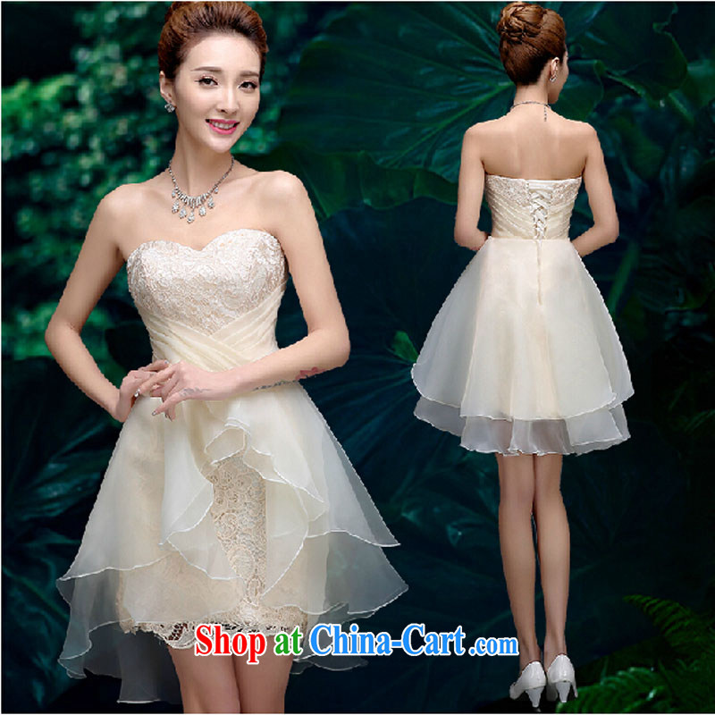 Pure bamboo love dresses Evening Dress 2015 new summer short banquet dress dress girl bride toast wedding clothes stylish erase chest dress champagne color XXL