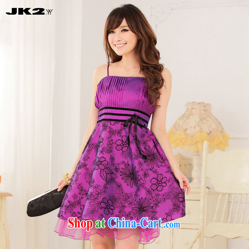 JK 2. YY 2015 new, lint-free cloth antique flower short straps dress XL beauty graphics thin banquet evening dress bridesmaid clothing purple XXXL 145 recommendations about Jack