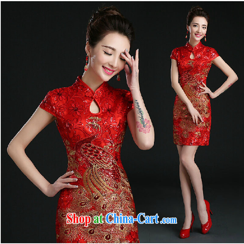 Pure bamboo yarn love 2015 New Red bridal wedding dress short evening dress evening dress uniform toasting Red double-shoulder dresses beauty red tailored contact Customer Service
