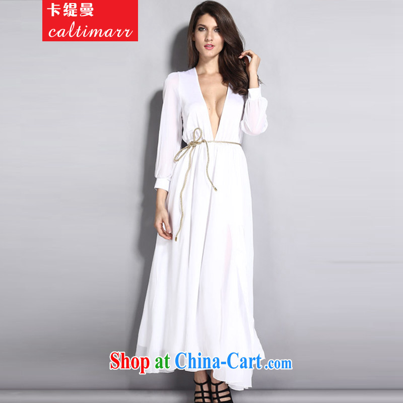 The economy Cayman 2015 autumn in Europe and America, wind lace stitching and long-sleeved dress sexy dress dress white are code