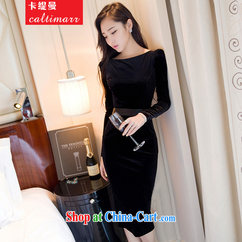 The economy, spring and autumn 2015 new women with a field for wool long-sleeved solid sense of packages and dress women dress long skirt black L
