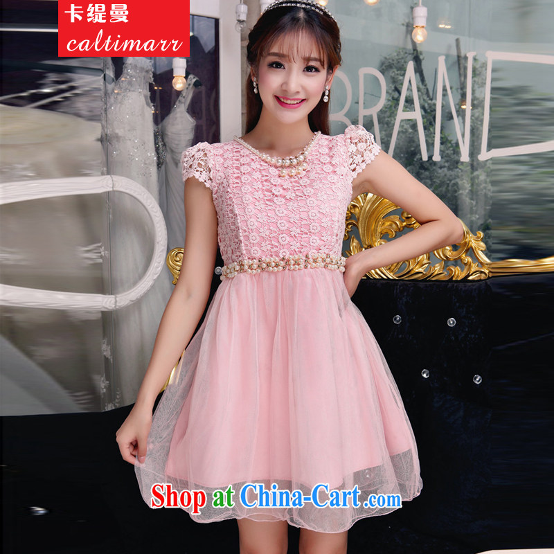 The economy, Autumn 2015 manually staple beads wood drill temperament Mary Magdalene Beauty Chest dresses bridesmaid groups dress skirt 8 pink FFM L