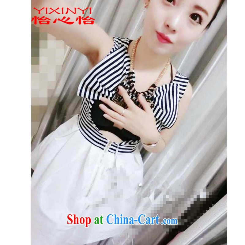 Yi Hsin Yi 2015 summer new small dress short-sleeved cultivating the waist graphics thin dresses female white L