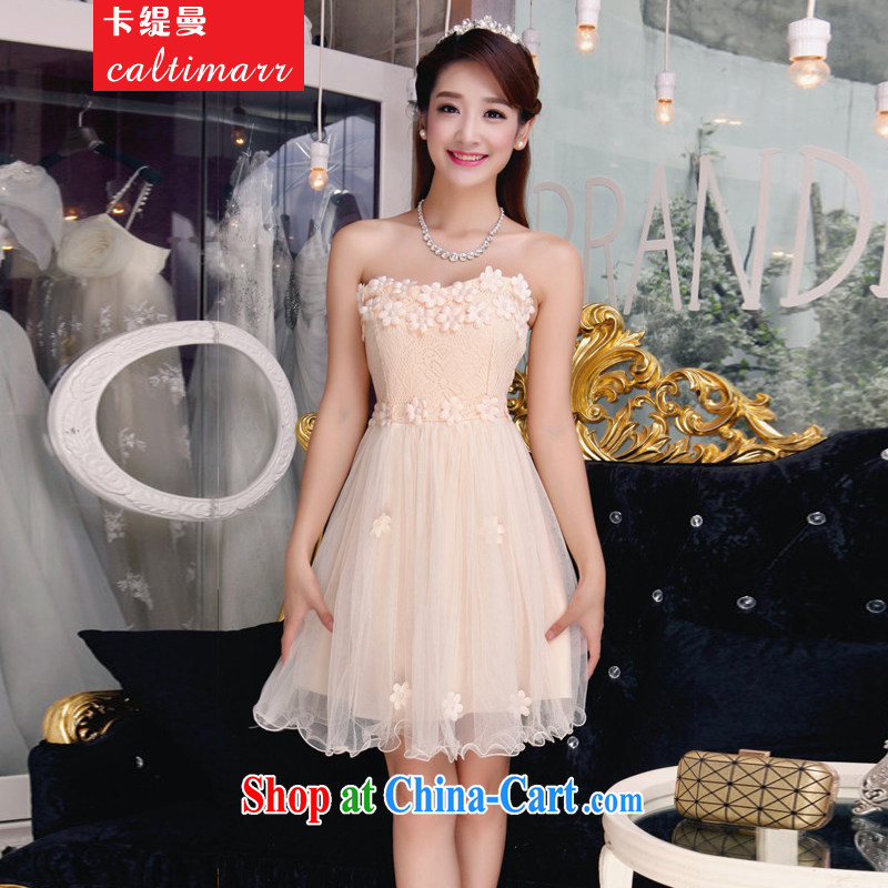 The economy, Autumn 2015, bare shoulders and stylish lace bridesmaid's dress style Beauty The Pearl dresses 8 FFM apricot L