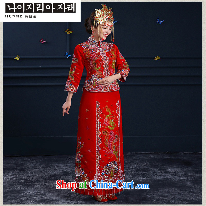 Products hannizi 2015 spring and summer new married clothing cheongsam Chinese wedding dress bridal toast clothing red M