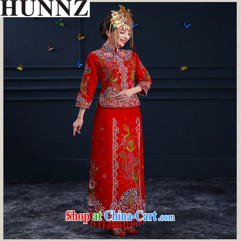 Products HUNNZ 2015 spring and summer new wedding dress bridal toast serving married clothing cheongsam Chinese Soo Wo service red XXL