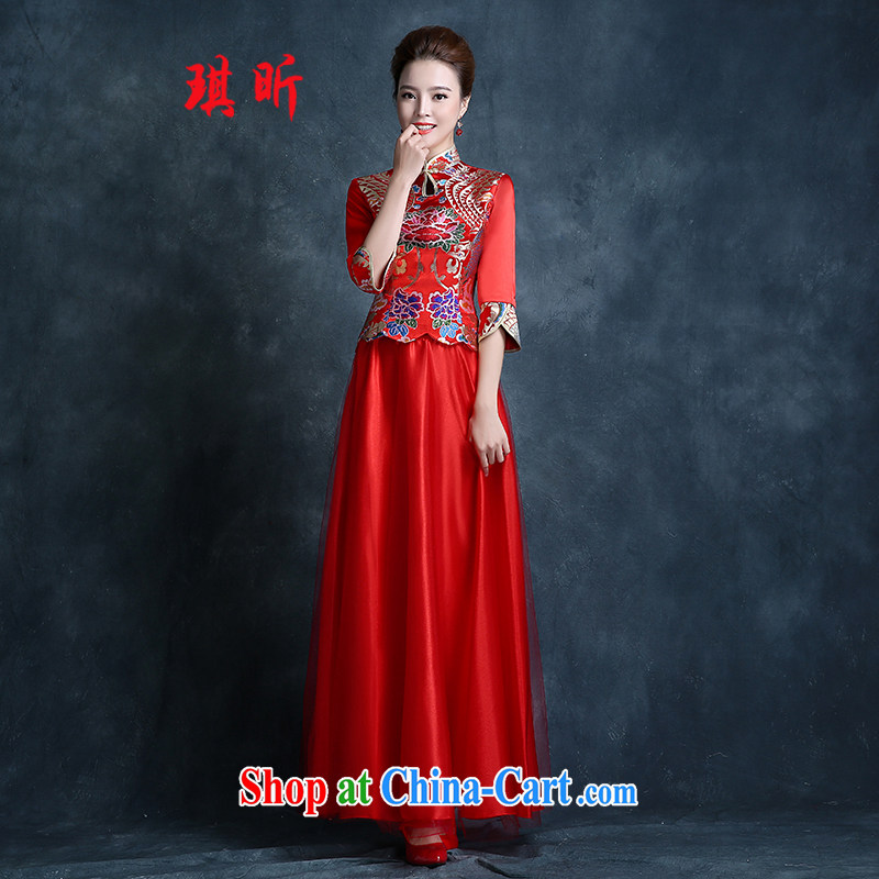 Angel year bridal wedding dress bows new, fall 2015 cheongsam dress red stylish retro lace beauty dress red XXL