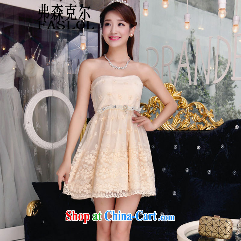 2015 autumn new bare shoulders lace dresses beauty graphics thin sexy Openwork dresses apricot L