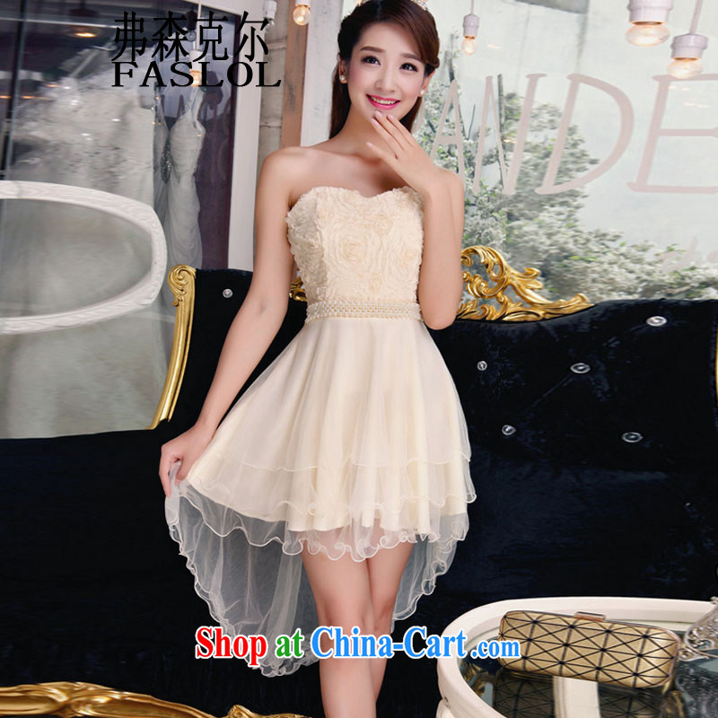 Fish people, bare shoulders and stylish lace dresses style Beauty The Pearl dresses apricot L