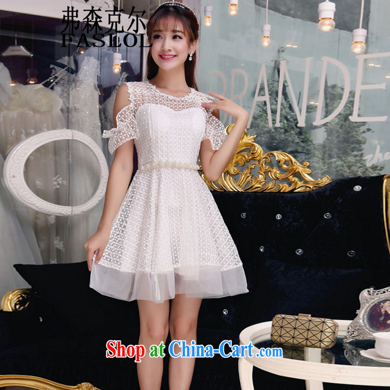 Autumn 2015 the new fly cuff Openwork European root dress white L