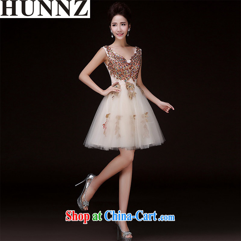 Products HUNNZ 2015 spring and summer new stylish upscale banqueting bridal dresses serving toast bridesmaid serving champagne color XXL