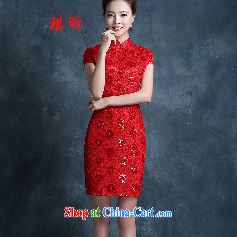 Angel year marriages dresses toast clothing 2015 New Evening Dress red stylish retro beauty improved dresses short red XXL