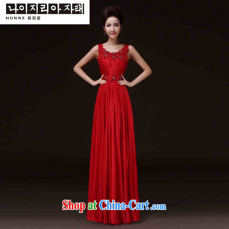 Products hannizi 2015 spring and summer New Red shoulders spring and summer style banquet toast service bridal gown red M