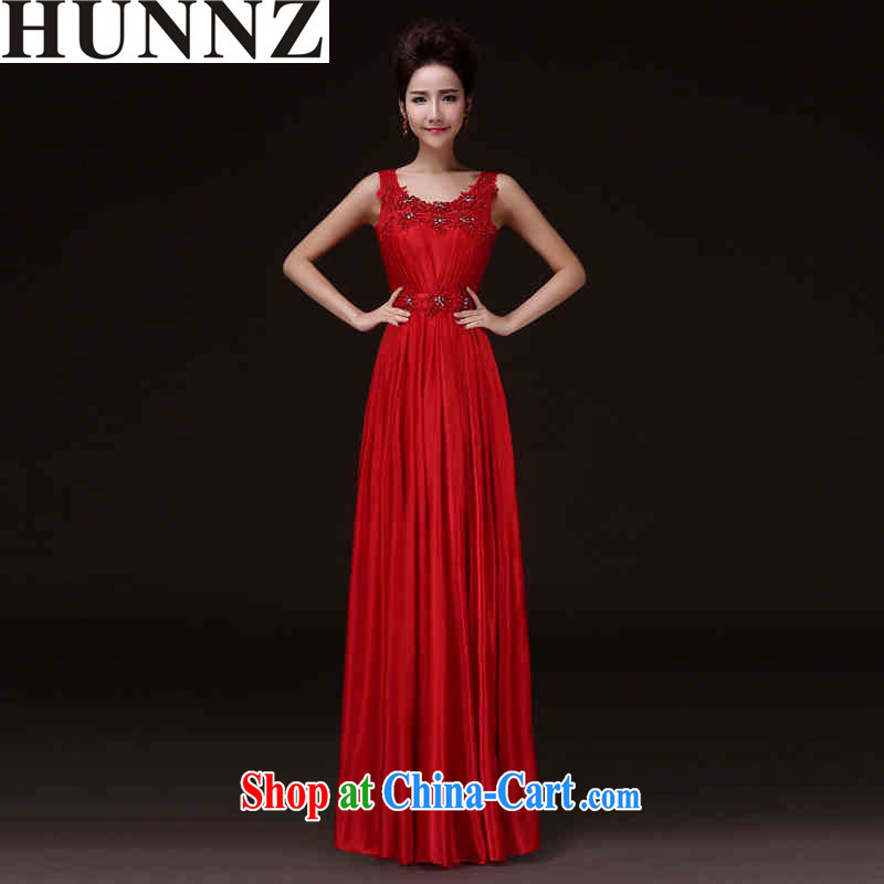 Products HUNNZ 2015 new spring and summer exclusive fashion Red double-shoulder bridal gown banquet toast serving red XXL