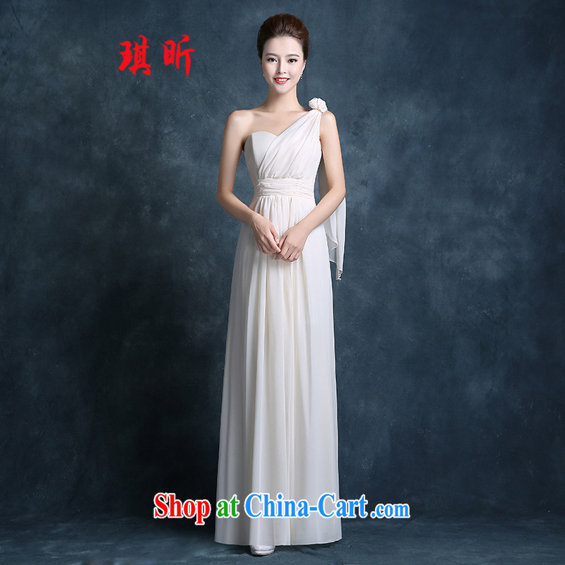 Angel year 2015, spring bridesmaid dress short, long, cultivating Korean version binding with sister's pink single shoulder dress skirt hot champagne color XXL