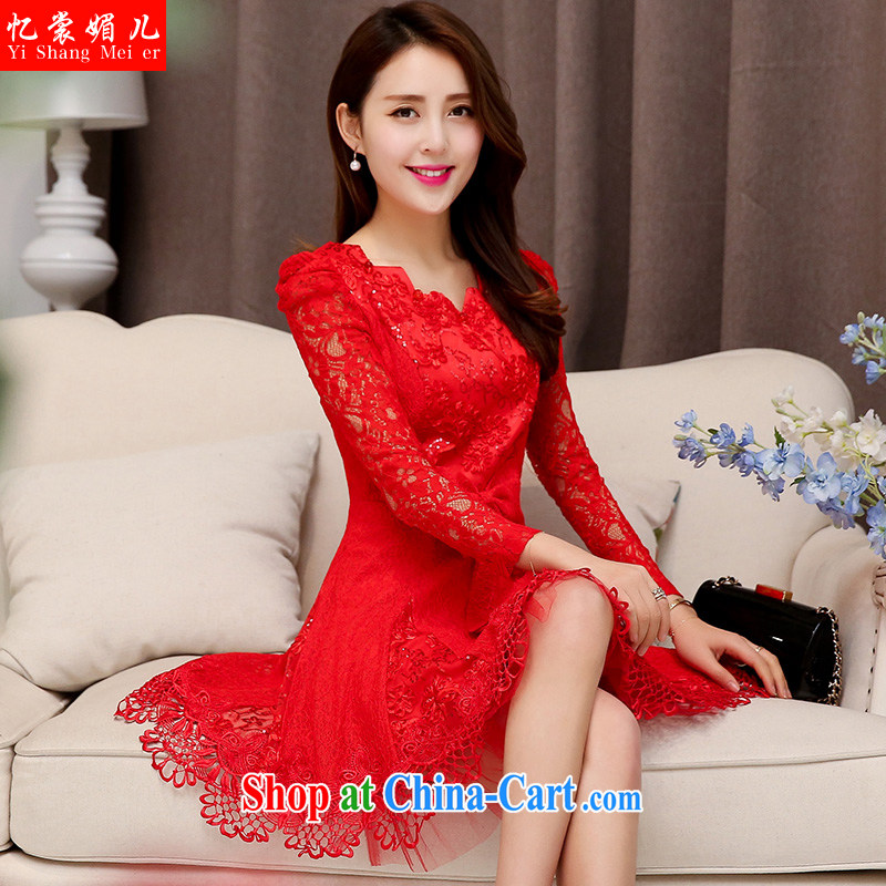 Recall that advisory committee that children fall 2015 with new female Korean Beauty long-sleeved small dress female red flower XXL