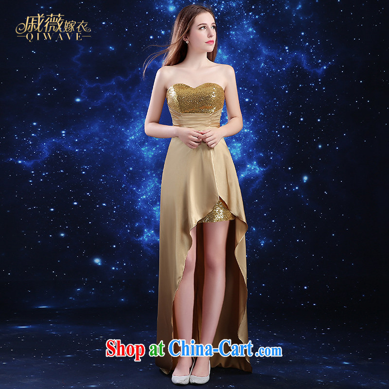 Ms Audrey EU Qi dress summer 2015 new marriages the wedding dress girl toast service gold long before short-tail banquet, cultivating bridesmaid stage Service Card its color XXL
