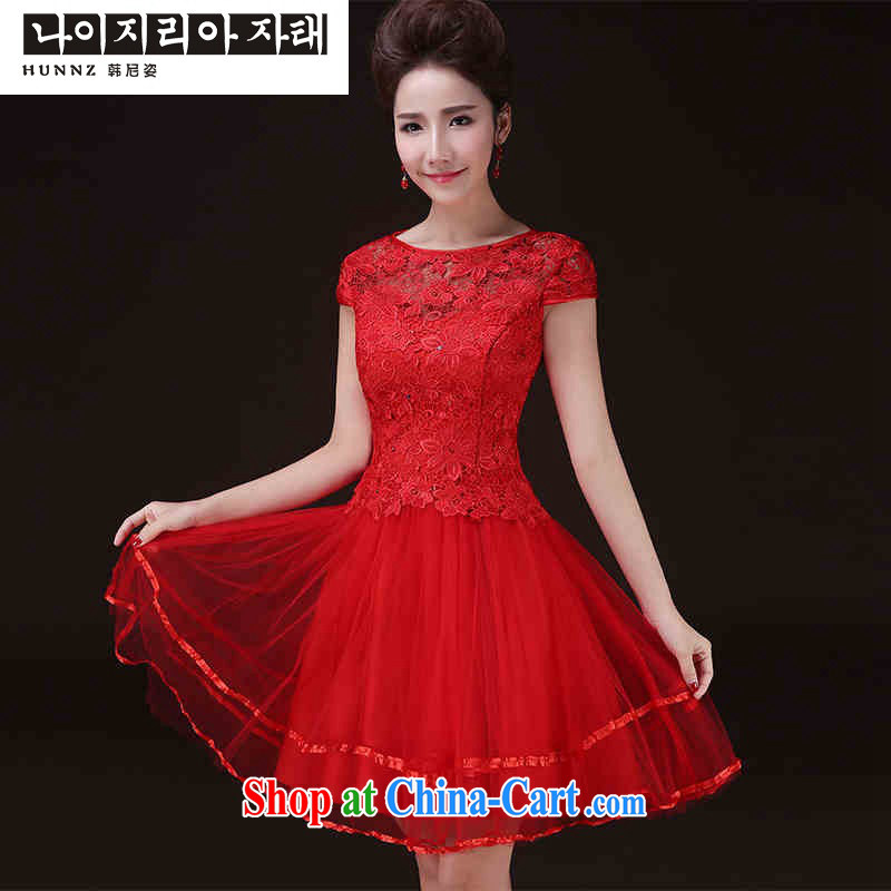 Products hannizi 2015 new spring and summer trendy short red, a field shoulder bridal wedding banquet dress female Red M