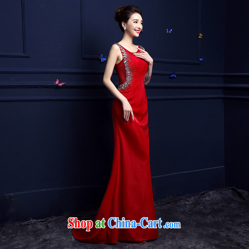 Products hannizi 2015 spring and summer new toast Service Bridal red tail Evening Dress fashion long dress red M