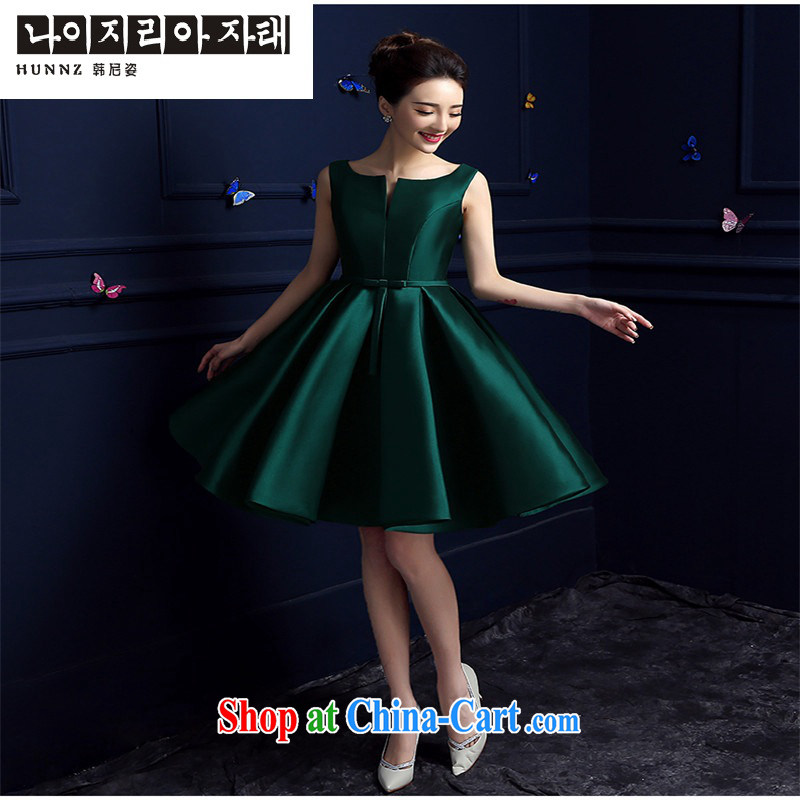 Products hannizi 2015 wedding dress spring and summer new stylish length, bridesmaid service banquet dress bridal toast serving dark green Short M