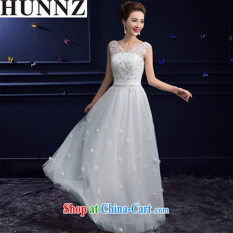 Products HUNNZ 2015 new spring and summer stylish Red double-shoulder-length, wedding dress banquet toast serving white XXL