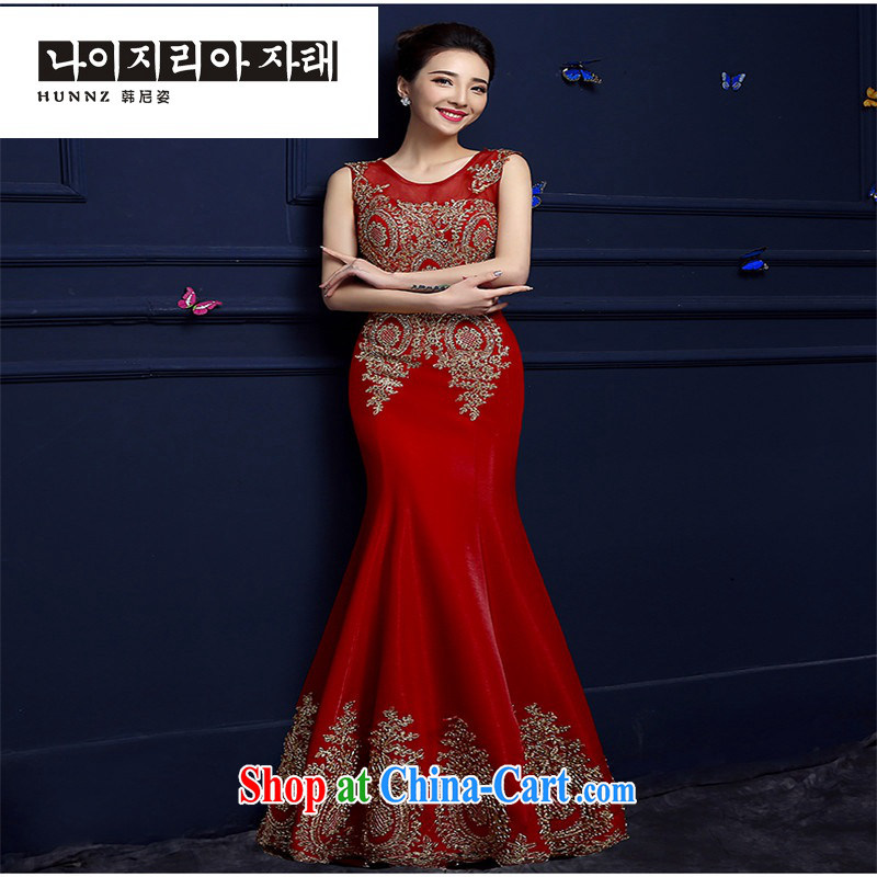 Products hannizi 2015 spring and summer new bride toast serving long dual-shoulder red lace dress crowsfoot red M
