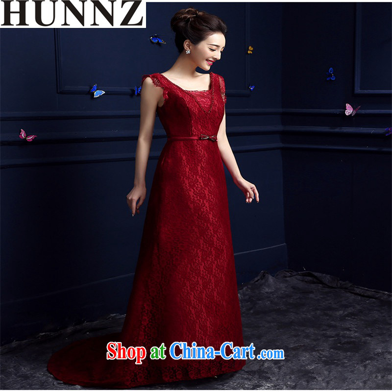 Products HUNNZ 2015 stylish red long upscale banqueting betrothal banquet bridal dresses serving toast wine red XXL