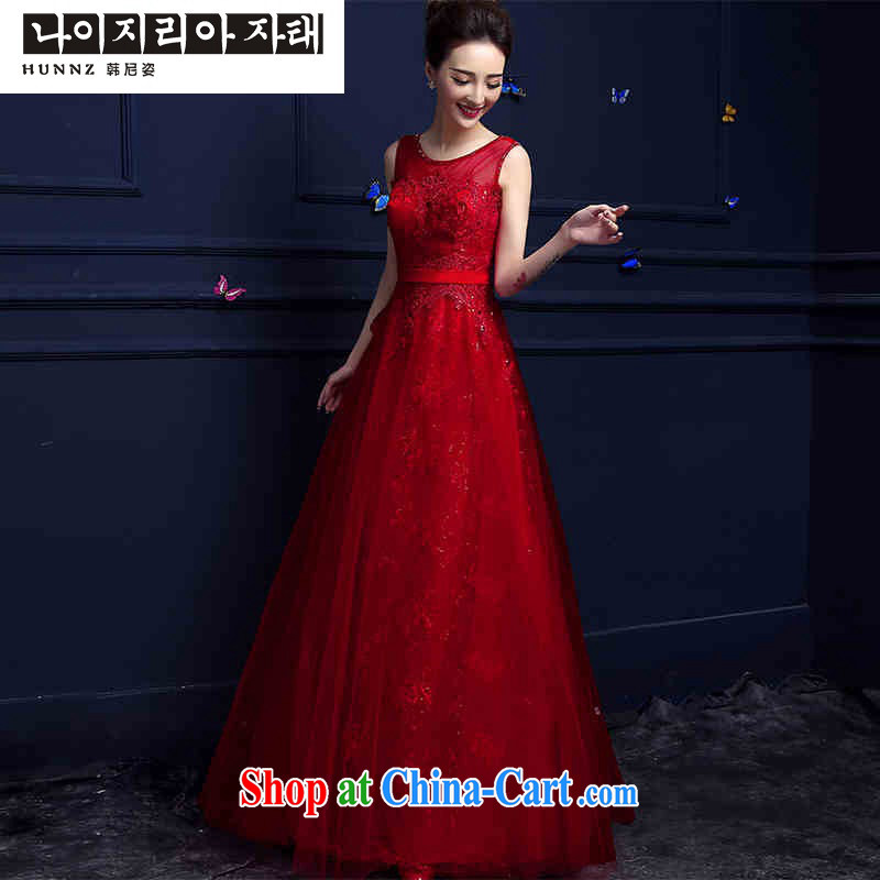 Products hannizi 2015 new summer exclusive fashion red long dual-shoulder bridal gown dress uniform toasting red M