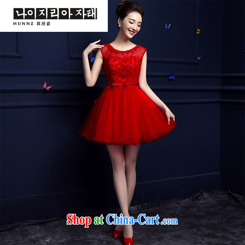 Products hannizi 2015 new spring and summer style banquet dress short red bridal serving toast serving red M