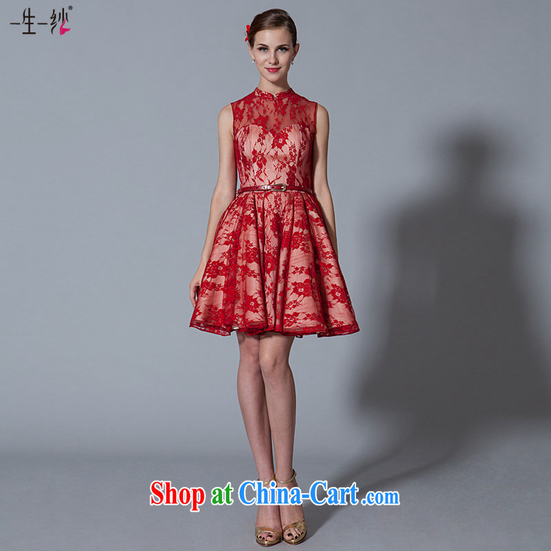 A yarn bridal toast dress short 2015 new moderator dress red dress summer red XL code 15 days pre-sale