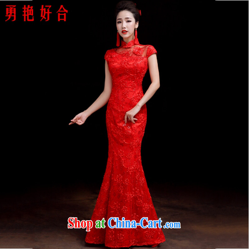 Yong-yan and bride's wedding dresses serving toast 2015 spring and summer new crowsfoot Chinese Antique red wedding dresses, long red long. size color will not be returned.