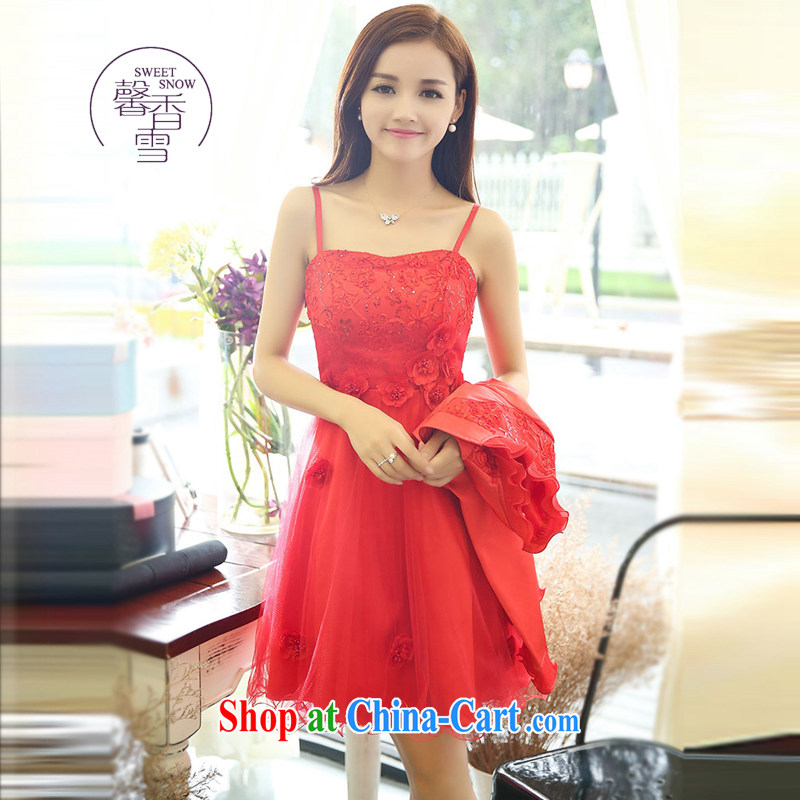 Fragrant snow fall 2015 red A Field dresses with long-sleeved small shawls two-piece bridal bridesmaid wedding betrothal back door beauty dress red