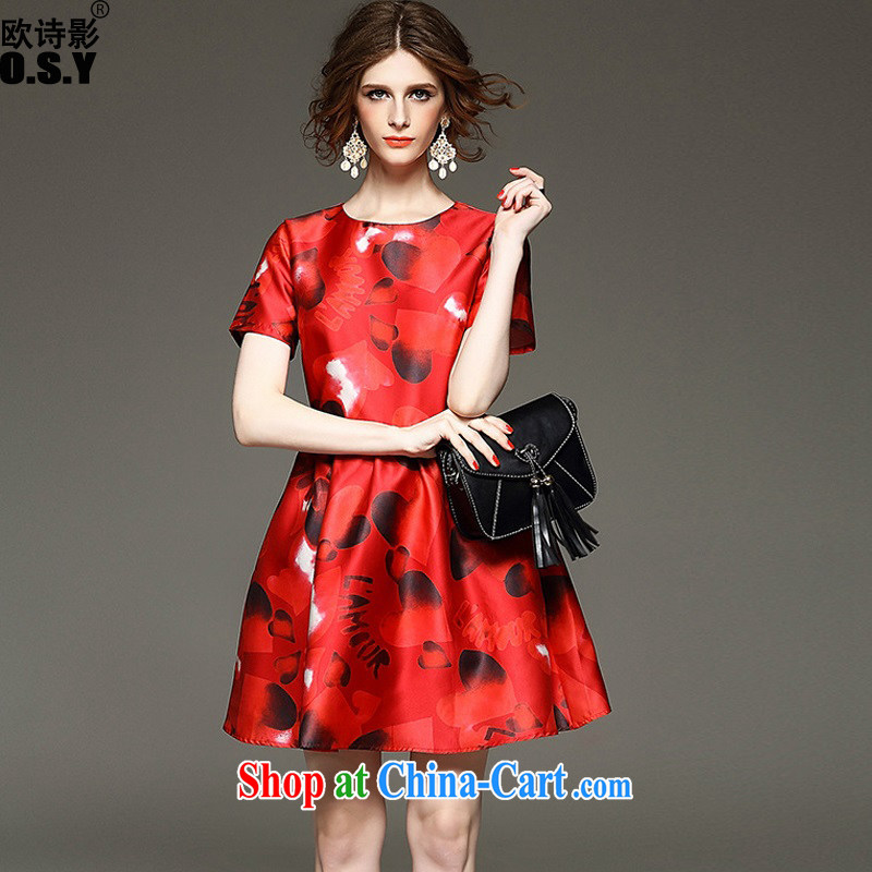The poetry film autumn 2015 new female commercial heart stamp collection waist A field dresses beauty charm small dress skirt red XL
