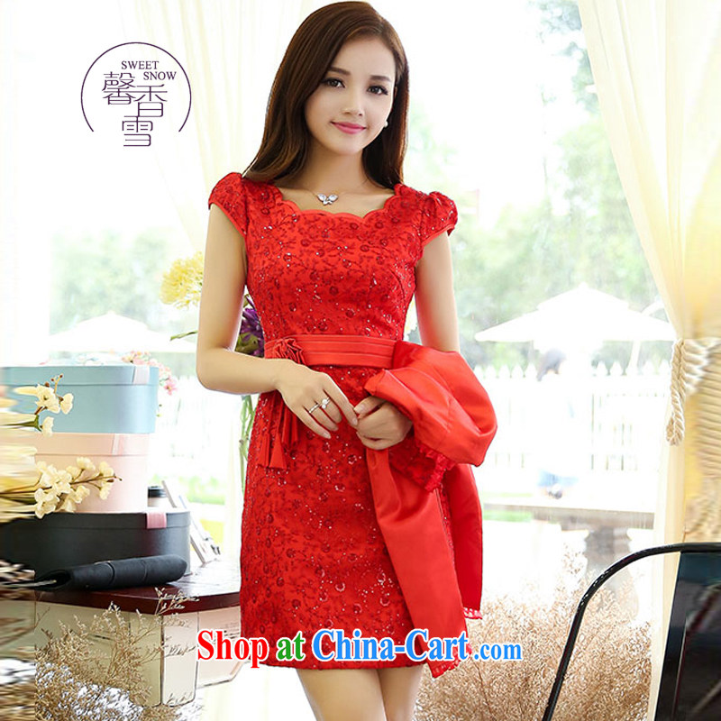 Fragrant snow fall 2015 New Beauty two-piece dresses, who won the red bridal the wedding toast dress red XXXL
