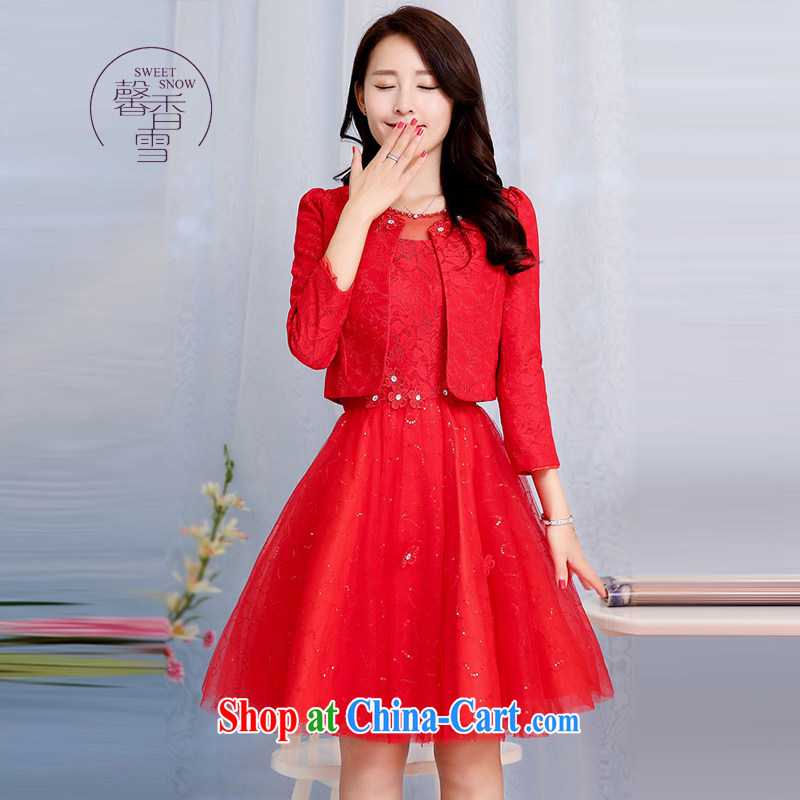 Fragrant snow fall 2015 new Fluoro-neck-lace floral beauty graphics thin model dresses female Two-piece elegant antique dresses red XXXL
