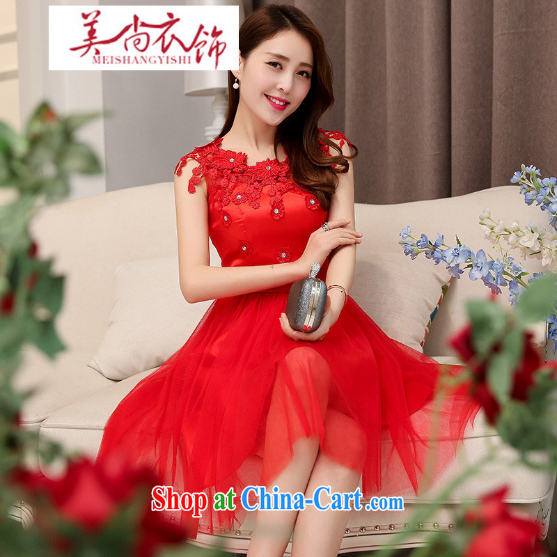 The US is still clothing 2015 new stylish short skirts bridal wedding toast small dress Annual Meeting banquet High Performance clothing bridesmaid clothing red XXL