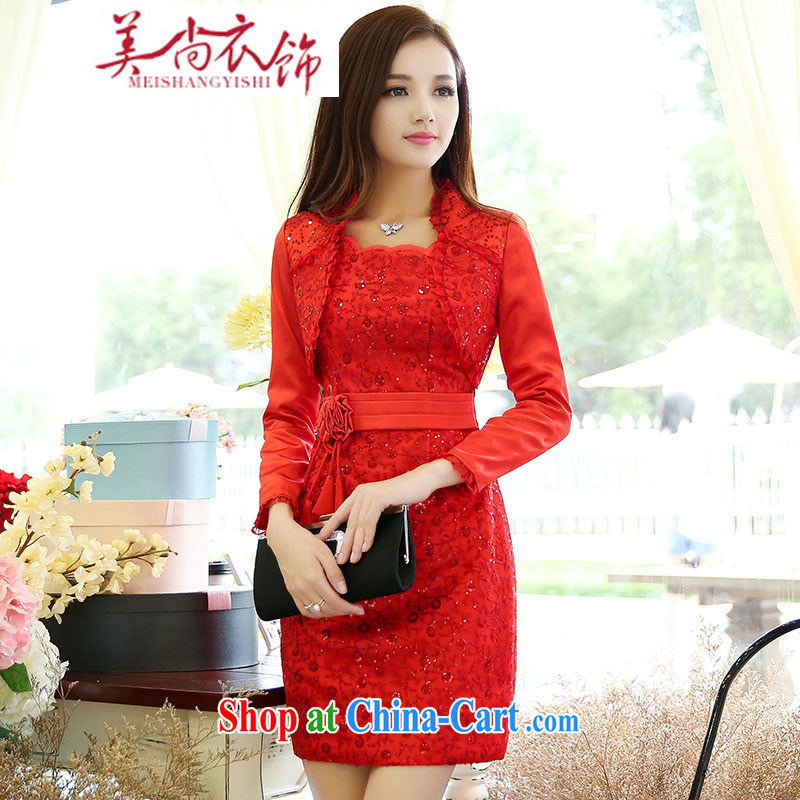 The US is still clothing 2015 new dresses dresses wedding dresses Chinese spring and summer red lace retro bridal toast clothing red XXL