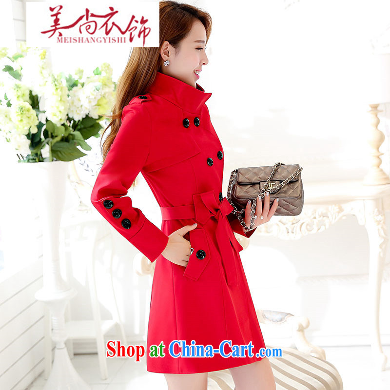 The US is still clothing bridal toast wedding dresses back door wind jacket 2015 new autumn and winter Korean girl with the disposition code graphics thin coat red XXL