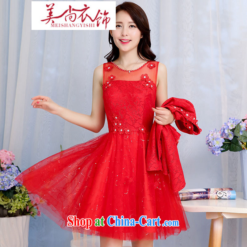 The US is still clothing 2015 spring new bride wedding dress toast serving the door lace dresses women's clothing two-piece decorated in red XXXL