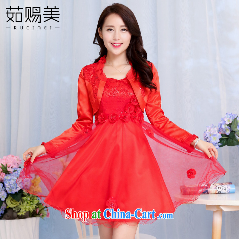 Ju gave us 2015 spring new married women bows dress female short erase chest lace beauty dress two-piece red XXXL